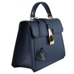 Handtasche, Felicia, blau, echtes leder