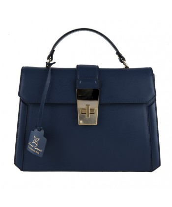 Hand bag, Felicia blue, genuine leather