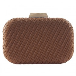 Bag clutch, Theodora brown, leather