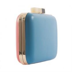 Borsa clutch, Zoe azzurra e rosa, in pelle