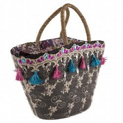 Handtasche, Romea schwarz, stroh