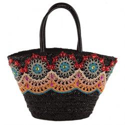 Handtasche, Vanessa schwarze, stroh