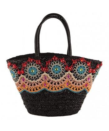 Hand bag, Vanessa black, straw