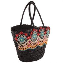 Hand bag, Vanessa black, straw