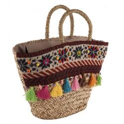 Handtasche, Marta beige, stroh