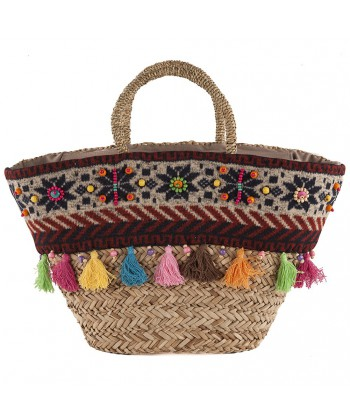 Hand bag, Marta beige, straw