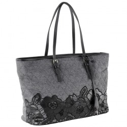 Hand bag, Catarina Grey, genuine leather