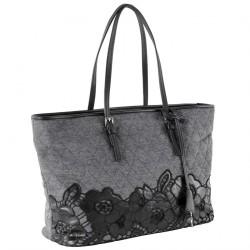 Hand bag, Catarina Grey, genuine leather