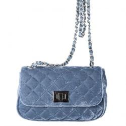 Shoulder bag, Cassandra blue, velvet