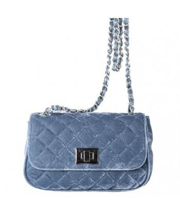 Bolsa de ombreiro, Cassandra azul, de veludo
