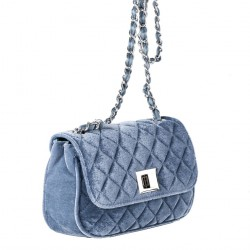 Shoulder bag, Cassandra blue, velvet