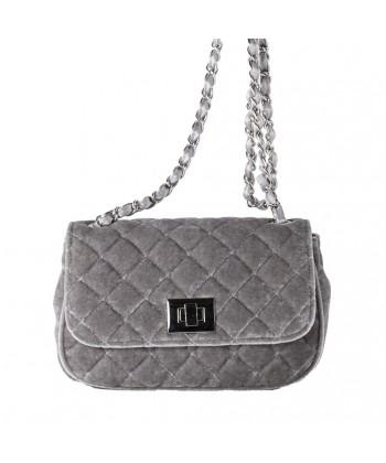 Shoulder bag, Cassandra grey, velvet