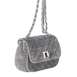 Shoulder bag, Cassandra grey, velvet