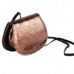 Bolso de hombro, Apolonia, de color rosa, de eco-cuero, laminado
