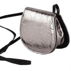Borsa a tracolla, Apollonia argento, in eco pelle laminata