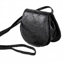 Bolso de hombro, Apolonia, negro, eco-cuero, laminado