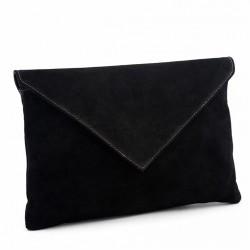 Bolsa de embreagem, Margot Negro camurça, coiro, feitos en Italia