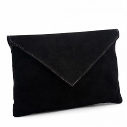 Borsa clutch, Margot Nera, in pelle scamosciata, made in Italy