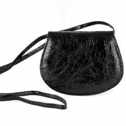 Borsa a tracolla, Apollonia nera, in eco pelle laminata