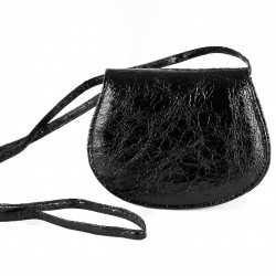 Shoulder bag, Apollonia, black, eco-leather, laminated