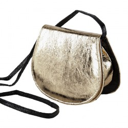 Shoulder bag, Apollonia, gold, eco-leather, laminated