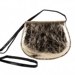 Shoulder bag, Apollonia, gold, eco-leather, laminated