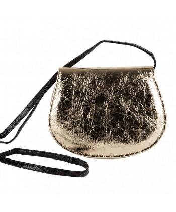Bolsa de ombreiro, Apollonia, ouro, eco-coiro, madeira laminada