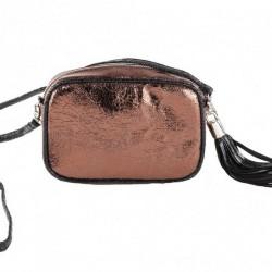 Shoulder bag, the Amalia rose, in eco-leather, laminated