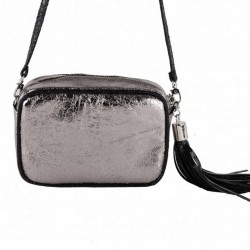 Shoulder bag, Amalia silver, in eco-leather, laminated