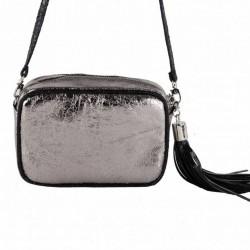 Shoulder bag, Amalia silver, in eco-leather, laminated