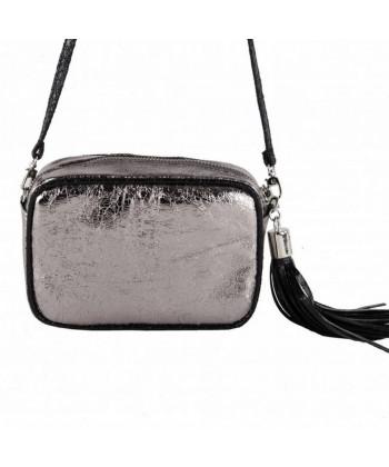 Bolsa de ombreiro, Amalia prata, en eco-coiro, madeira laminada