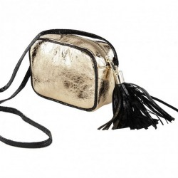 Shoulder bag, Amalia gold, in eco-leather, laminated