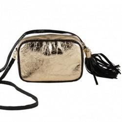 Shoulder bag, Amalia gold, in eco-leather, laminated