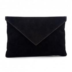 Bolsa de embrague, Margot Negro, de cuero de gamuza, hecho en Italia