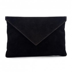 Sac d'embrayage, Margot Noir, daim, cuir, fabriqué en Italie