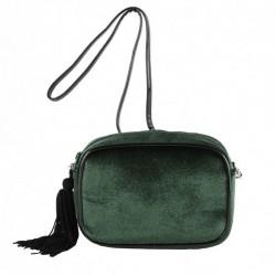 Bolsa de ombreiro, Adria verde, de veludo