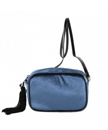 Bolsa de ombreiro, Adria azul, de veludo
