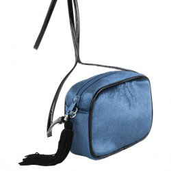 Shoulder bag, Adria blue, velvet
