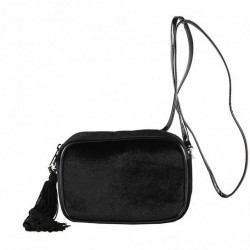 Shoulder bag, Adria black velvet