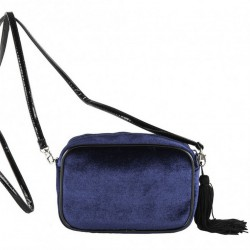 Bolso de hombro, Adria azul, de terciopelo