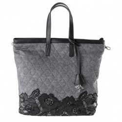 Man bolsa, empresa de inscrición gris, tecido acolchado