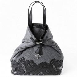 Bossa de mà, de registre de l'empresa gris, encoixinada teixit