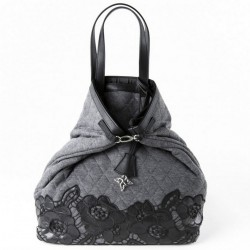 Hand bag, company registration grey, quilted fabric