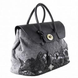 Bolso de mano, Dionisia gris, tela acolchada