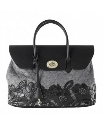 Hand bag, Dionisia grey, quilted fabric