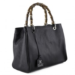 Hand bag, Thecla black, genuine leather