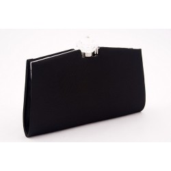 Borsa clutch, Queen Nera, in raso
