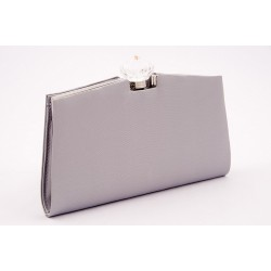 Borsa clutch, Queen Grigia, in raso