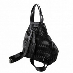 Bag backpack, Salua black, in eco leather embossed