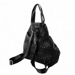 Sac de sac à dos, Salua noir, en éco cuir de relief